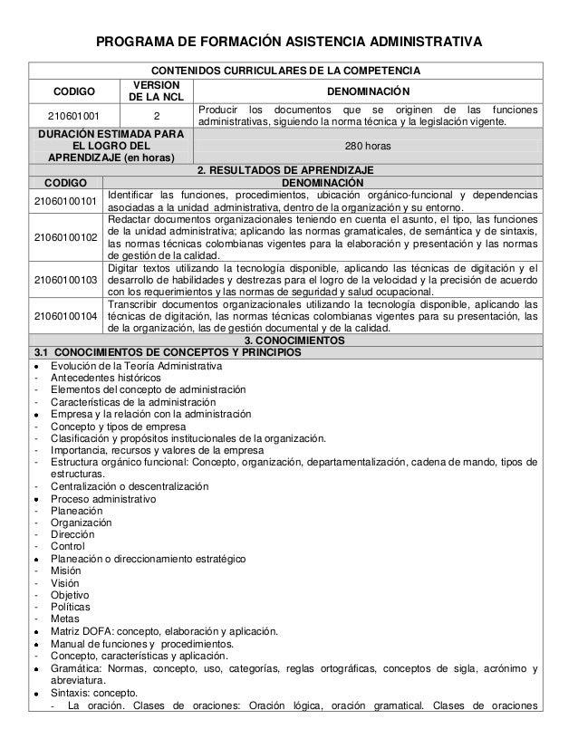 PROGRAMA DE FORMACIÓN ASISTENCIA ADMINISTRATIVA                           CONTENIDOS CURRICULARES DE LA COMPETENCIA       ...