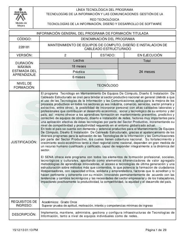 Modelo de  Mejora  LÍNEA TECNOLÓGICA DEL PROGRAMA  TECNOLOGÍAS DE LA INFORMACIÓN Y LAS COMUNICACIONES GESTIÓN DE LA  RED T...