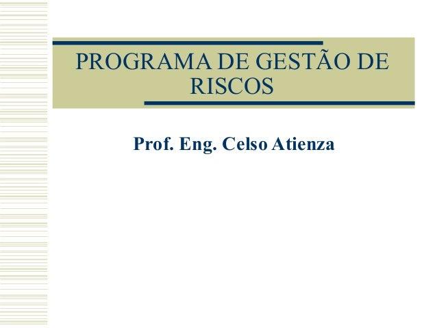 PROGRAMA DE GESTÃO DE RISCOS Prof. Eng. Celso Atienza
