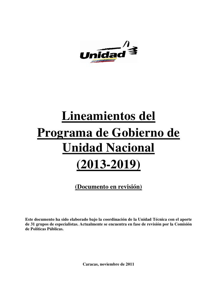 Lineamientos del      Programa de Gobierno de          Unidad Nacional            (2013-2019)                           (D...