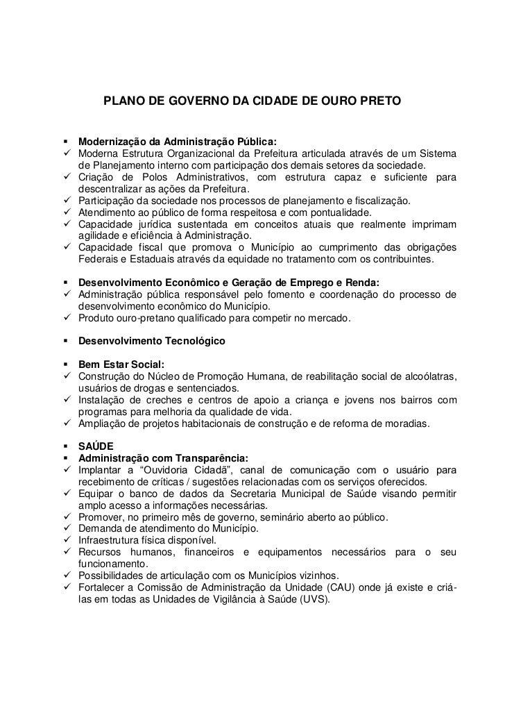 PLANO DE GOVERNO DA CIDADE DE OURO PRETO Modernização da Administração Pública: Moderna Estrutura Organizacional da Pref...