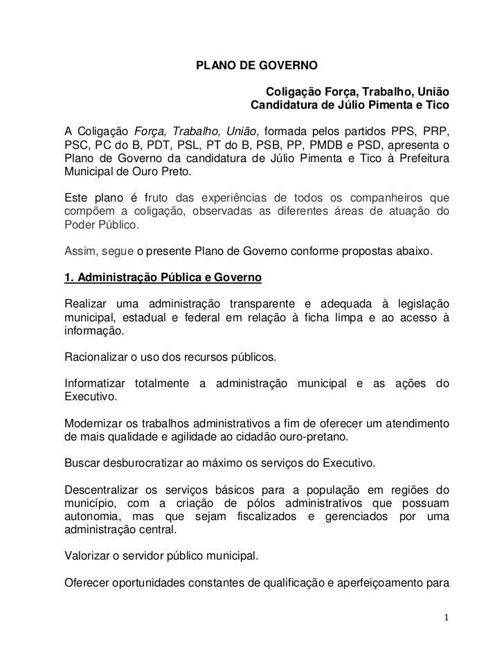 PLANO DE GOVERNO                                       Coligação Força, Trabalho, União                                   ...