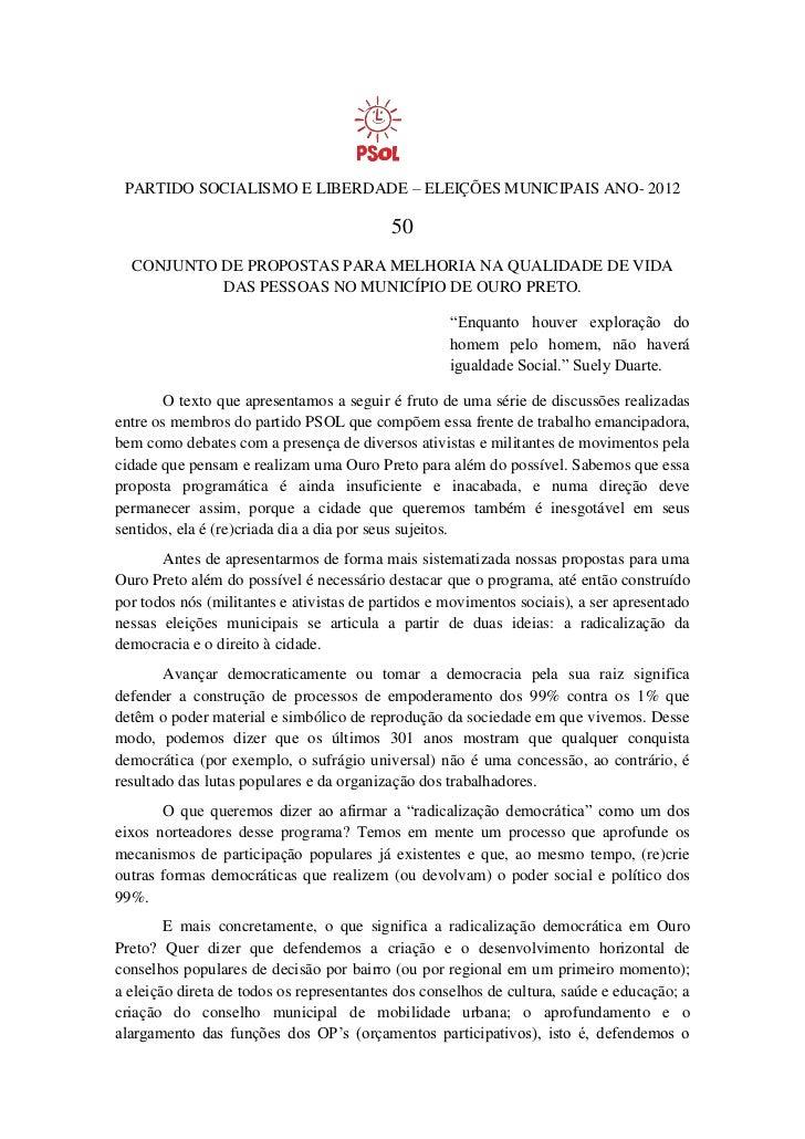PARTIDO SOCIALISMO E LIBERDADE – ELEIÇÕES MUNICIPAIS ANO- 2012                                           50  CONJUNTO DE P...