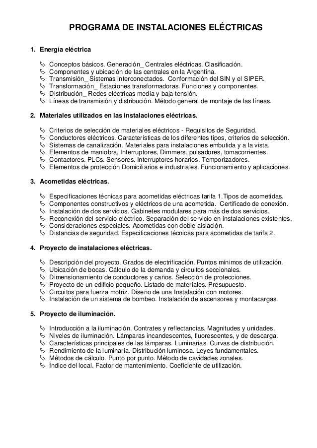 PROGRAMA DE INSTALACIONES ELÉCTRICAS1. Energía eléctrica      Conceptos básicos. Generación_ Centrales eléctricas. Clasif...