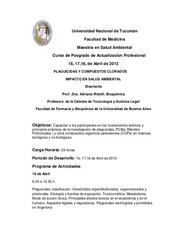 Universidad Nacional de Tucumán                                 Facultad de Medicina                             Maestría ...