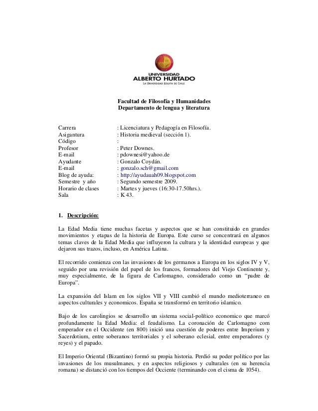 Facultad de Filosofía y Humanidades Departamento de lengua y literatura Carrera : Licenciatura y Pedagogía en Filosofía. A...