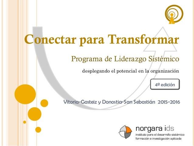 Conectar para Transformar Vitoria-Gasteiz y Donostia-San Sebastián 2015-2016 Programa de Liderazgo Sistémico norgara ids i...