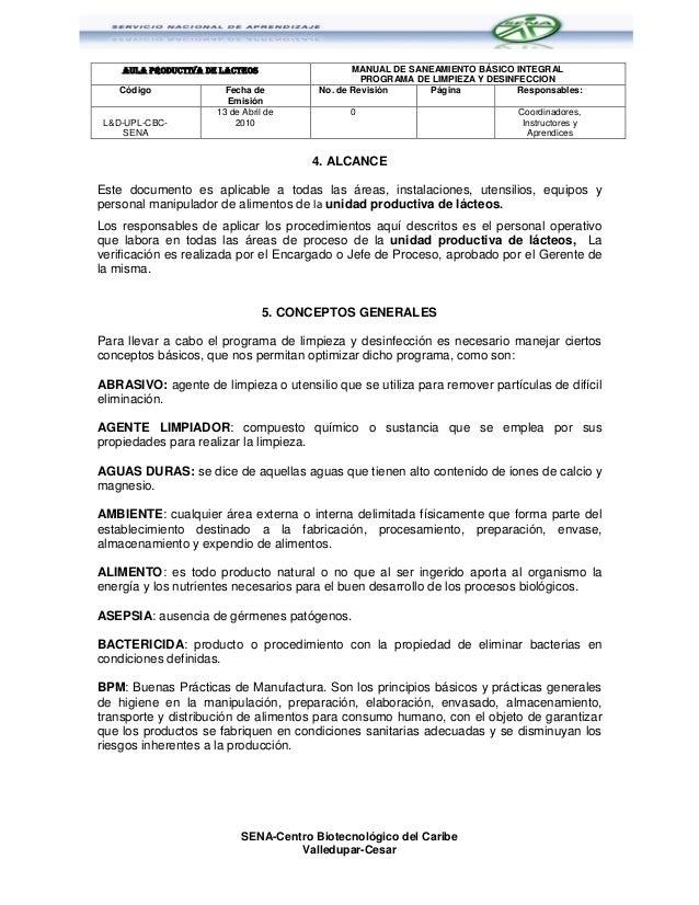 Programadelimpiezaydesinfeccionsena cbc 121128090911 phpapp01 for Manual de limpieza y desinfeccion en restaurantes