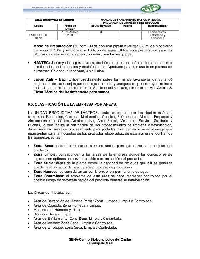 Programa de limpieza y desinfeccion sena cbc for Manual de limpieza y desinfeccion para una cocina
