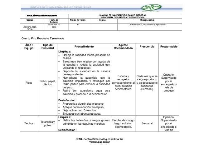 Programa de limpieza y desinfeccion sena cbc for Programa de cuarto