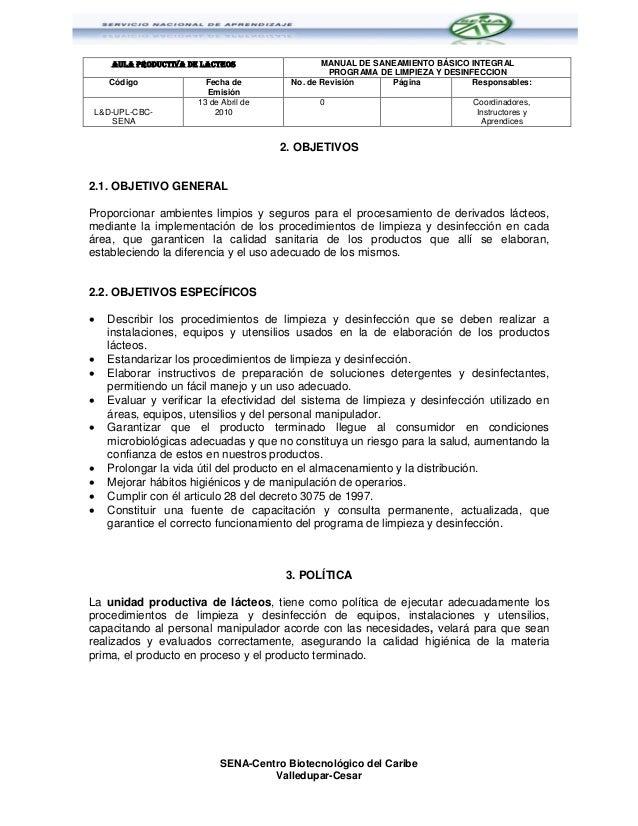 Programa de limpieza y desinfeccion sena cbc for Limpieza y desinfeccion de equipos