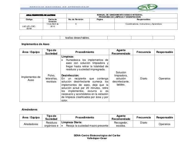 Programa de limpieza y desinfeccion sena cbc for Programa de limpieza y desinfeccion de una cocina