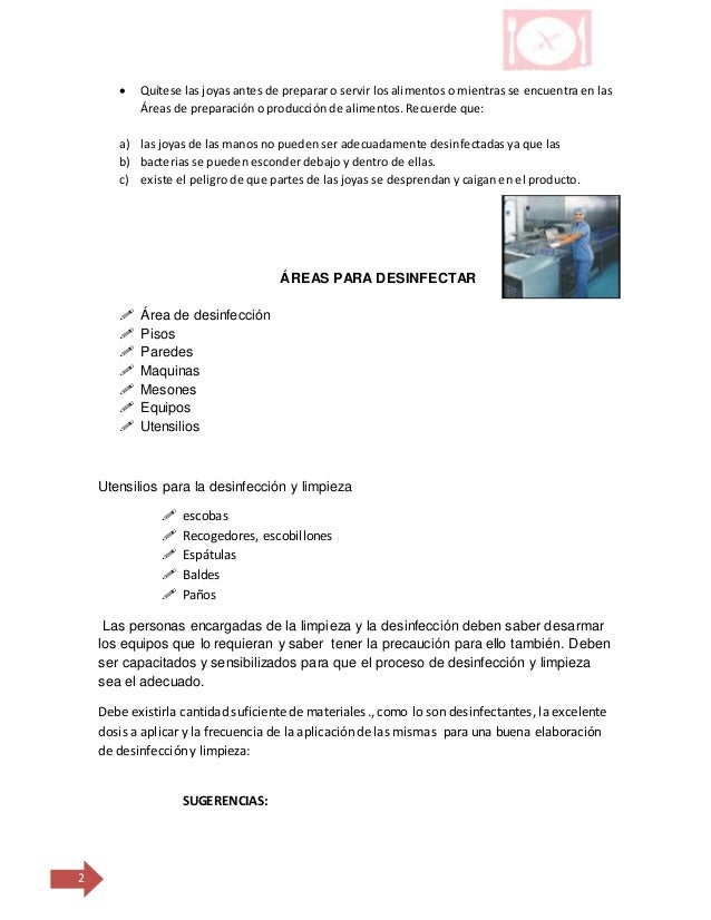 Programa de limpieza y desinfecci n Limpieza y desinfeccion de equipos