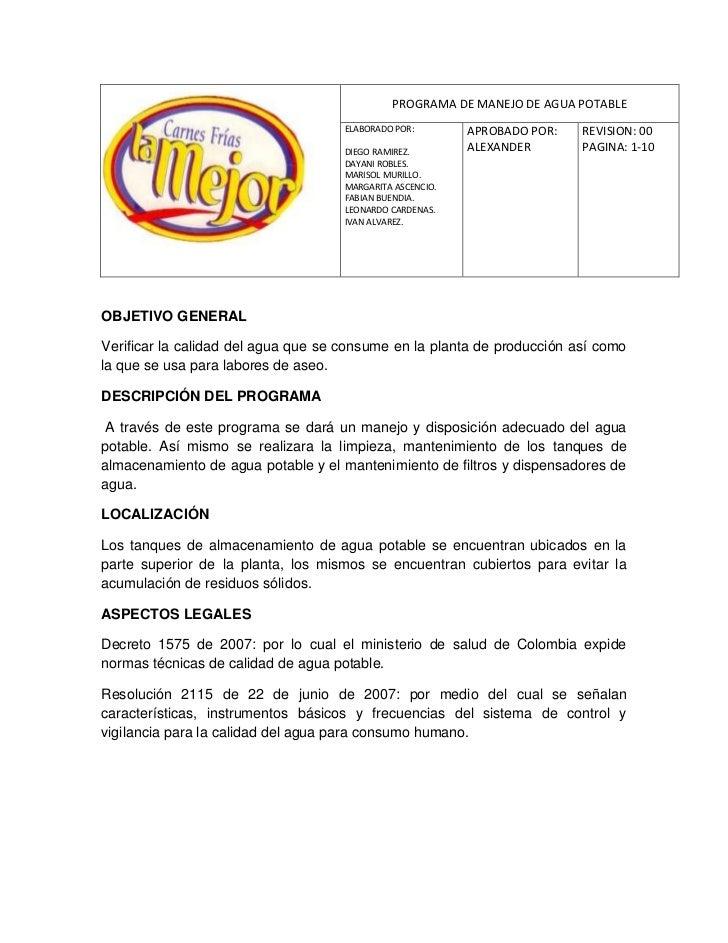 -16510-2045970PROGRAMA DE MANEJO DE AGUA POTABLEELABORADO POR: DIEGO RAMIREZ.          DAYANI ROBLES.        MARISOL MURI...