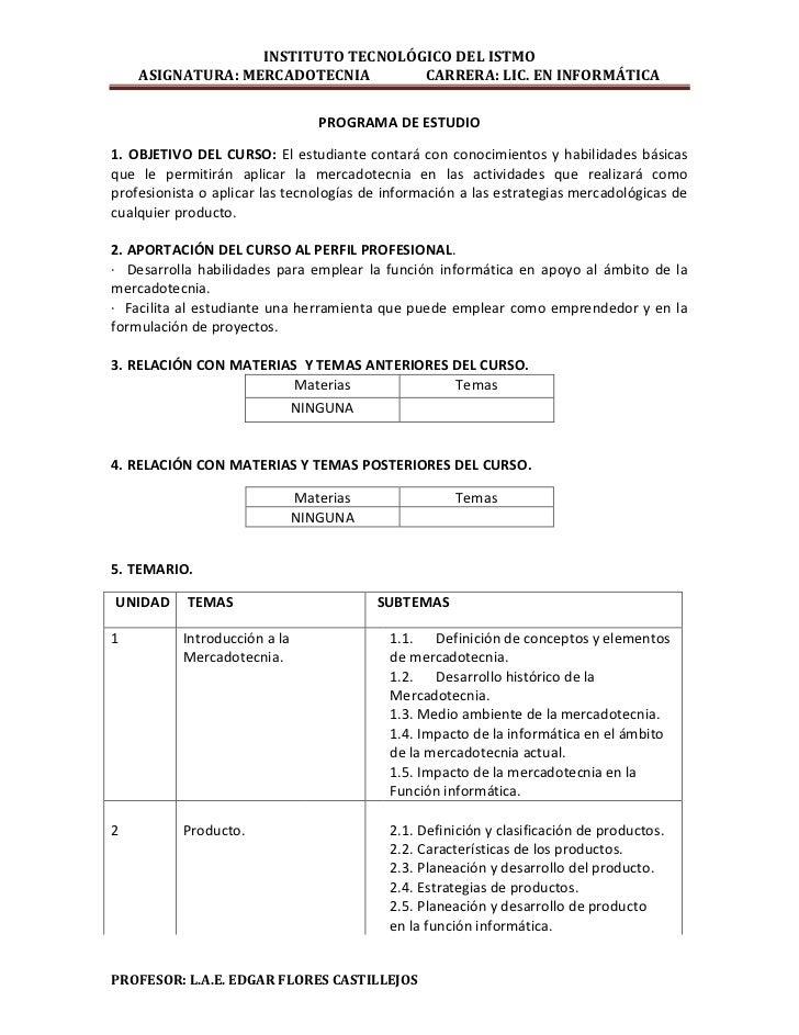 INSTITUTO TECNOLÓGICO DEL ISTMO    ASIGNATURA: MERCADOTECNIA       CARRERA: LIC. EN INFORMÁTICA                           ...