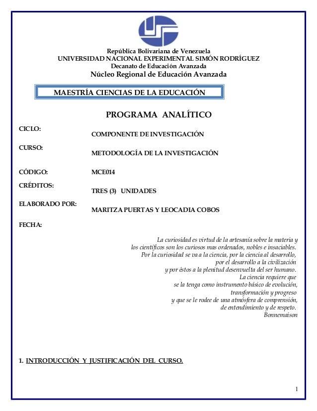 República Bolivariana de VenezuelaUNIVERSIDAD NACIONAL EXPERIMENTAL SIMÓN RODRÍGUEZDecanato de Educación AvanzadaNúcleo Re...