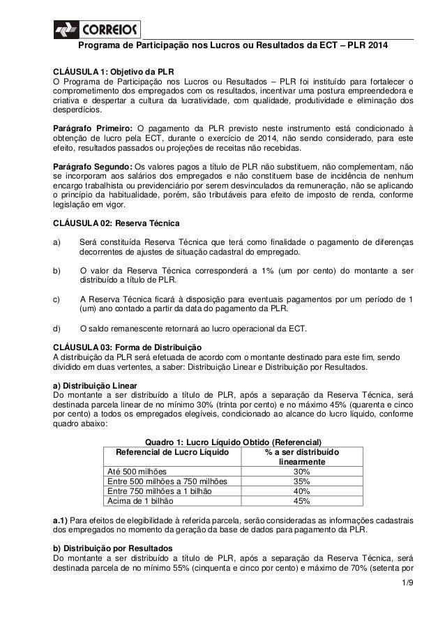 Programa de Participação nos Lucros ou Resultados da ECT – PLR 2014 1/9 CLÁUSULA 1: Objetivo da PLR O Programa de Particip...