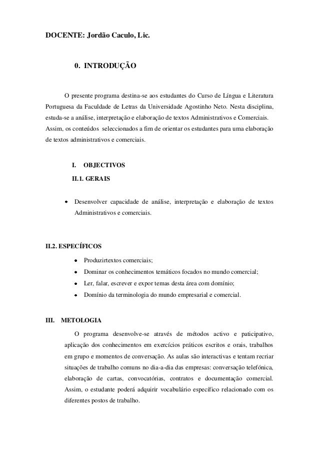 DOCENTE: Jordão Caculo, Lic.           0. INTRODUÇÃO       O presente programa destina-se aos estudantes do Curso de Língu...