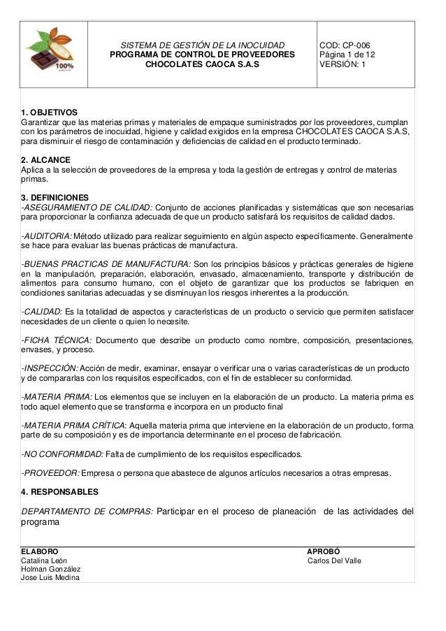 Programa de programa de control de proveedores y materias Manual de procesos y procedimientos de una empresa de alimentos