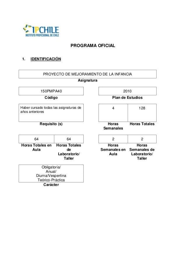 PROGRAMA OFICIAL1. IDENTIFICACIÓNPROYECTO DE MEJORAMIENTO DE LA INFANCIAAsignatura150PMPA40 2010Código Plan de EstudiosHab...
