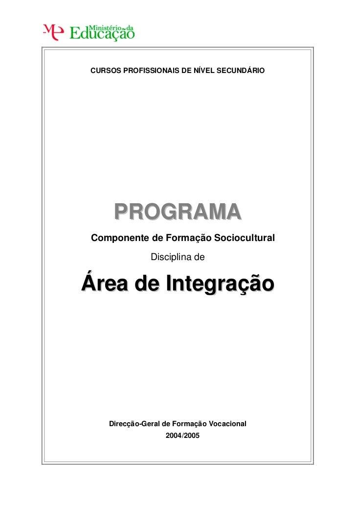 CURSOS PROFISSIONAIS DE NÍVEL SECUNDÁRIO     PROGRAMAComponente de Formação Sociocultural               Disciplina deÁrea ...