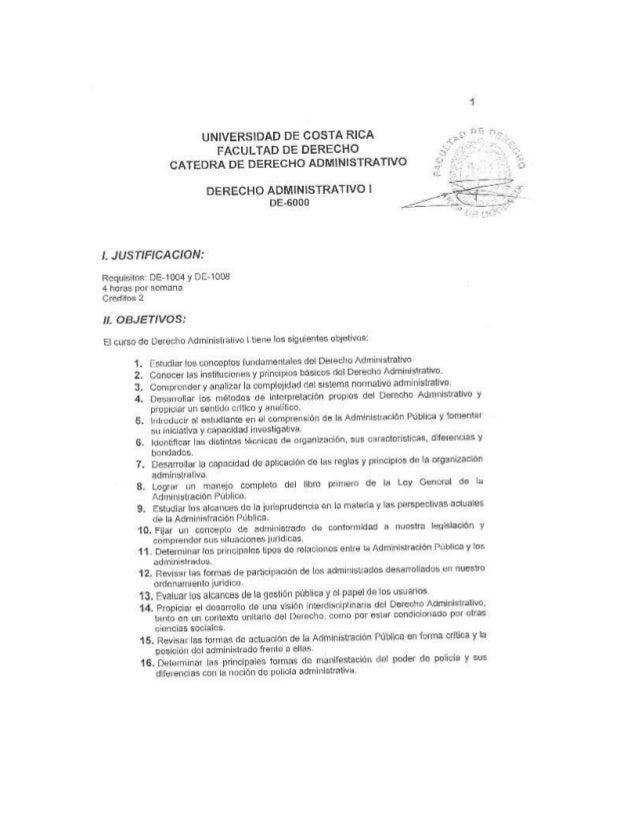 Programa derecho administrativo i UCR
