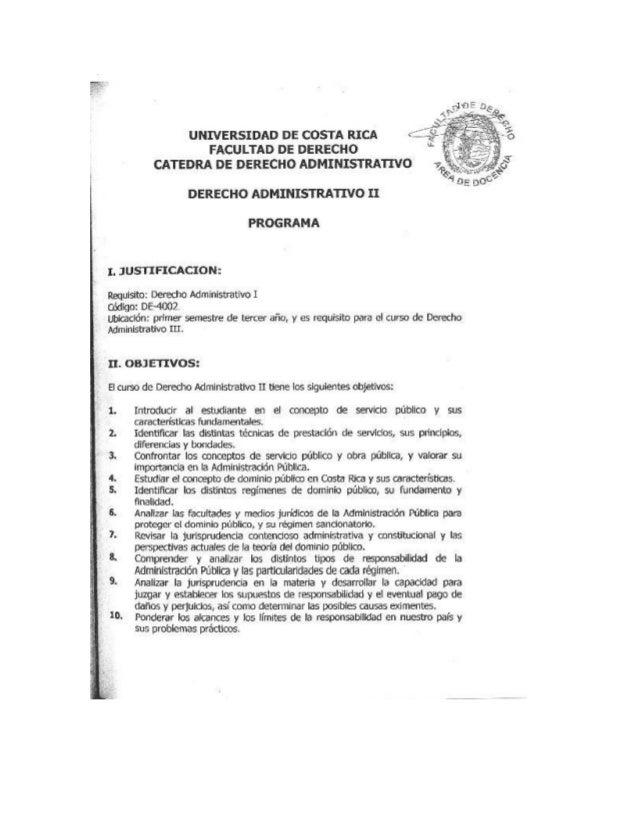 Programa derecho administrativo ii UCR