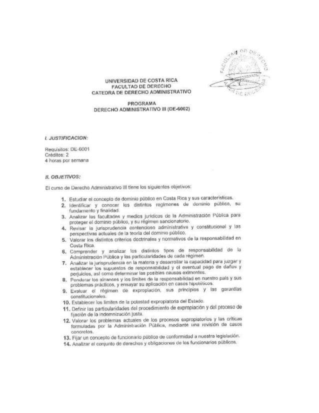 Programa derecho administrativo iii UCR