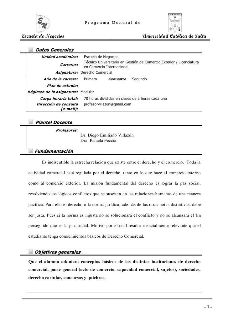 Programa General deEscuela de Negocios                                               Universidad Católica de Salta      Da...
