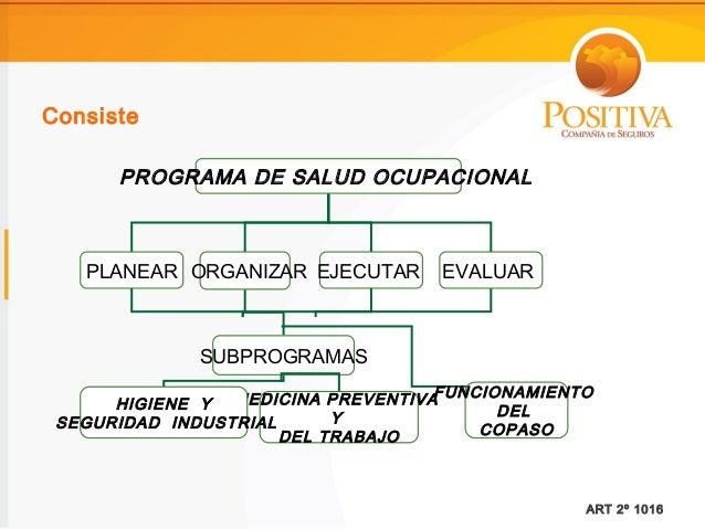 Consiste      PROGRAMA DE SALUD OCUPACIONAL   PLANEAR ORGANIZAR EJECUTAR      EVALUAR             SUBPROGRAMAS            ...