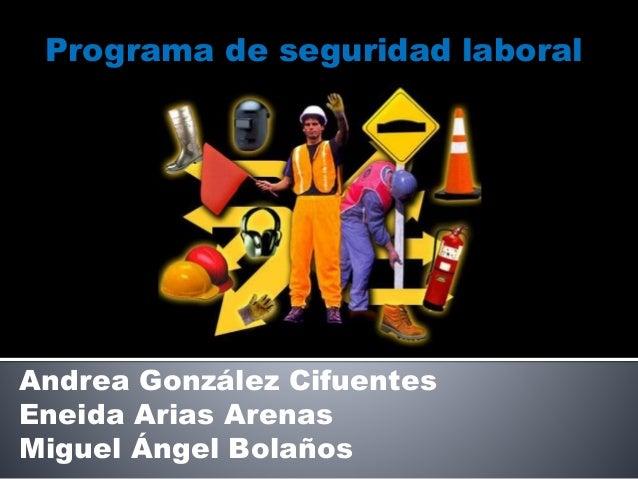 Programa de seguridad laboral Andrea González Cifuentes Eneida Arias Arenas Miguel Ángel Bolaños