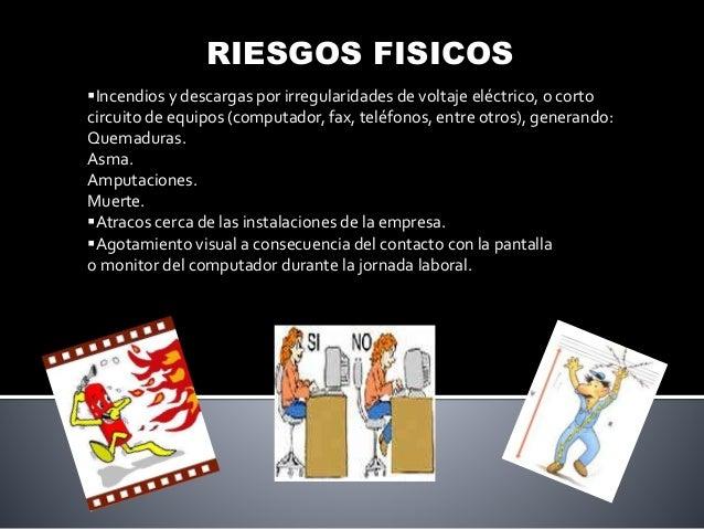 RIESGOS FISICOS Incendios y descargas por irregularidades de voltaje eléctrico, o corto circuito de equipos (computador, ...