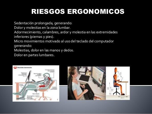 RIESGOS ERGONOMICOS Sedentación prolongada, generando: Dolor y molestias en la zona lumbar. Adormecimiento, calambres, ard...