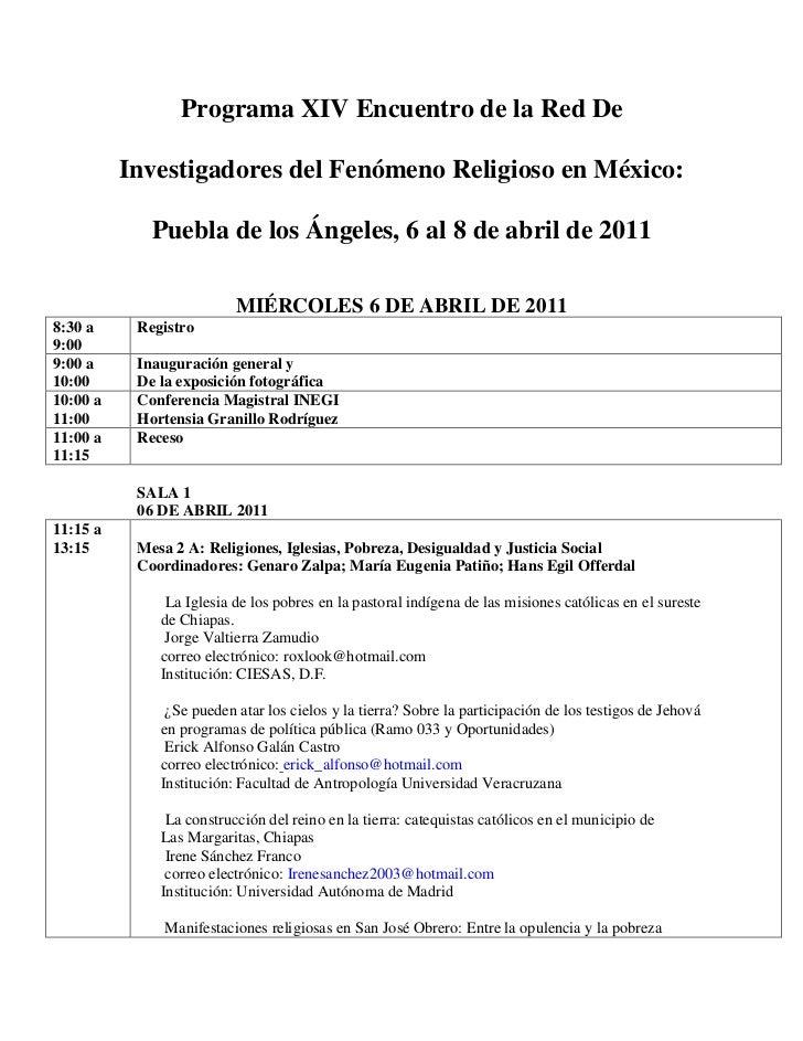 Programa XIV Encuentro de la Red De          Investigadores del Fenómeno Religioso en México:             Puebla de los Án...