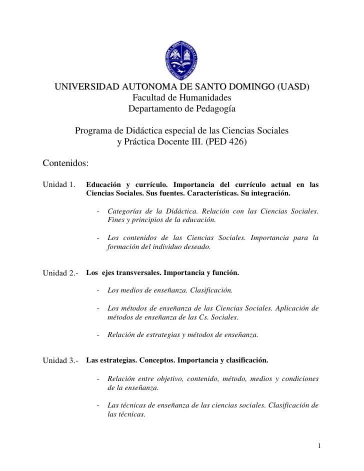 UNIVERSIDAD AUTONOMA DE SANTO DOMINGO (UASD)                 Facultad de Humanidades                Departamento de Pedago...