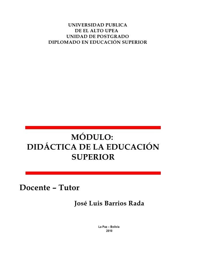Programa Analítico Didáctica de la Educación Superior            UPEA - 2010   1                          UNIVERSIDAD PUBL...