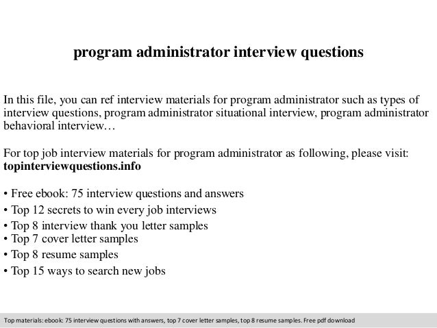 Program administrator interview questions