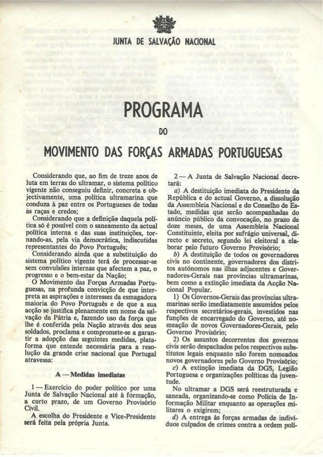 """e"""" f.   JUNTA DE SALVAÇÃO NAGONAI.   MOVIMENTO DAS FORÇAS ARMADAS PORTUGUESAS  Considerando que,  ao lim de treze anos de ..."""