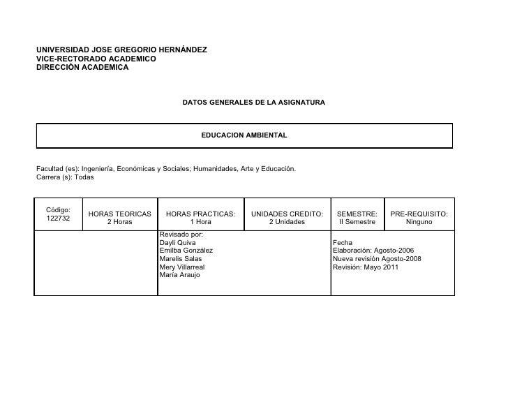 UNIVERSIDAD JOSE GREGORIO HERNÁNDEZVICE-RECTORADO ACADEMICODIRECCIÓN ACADEMICA                                            ...