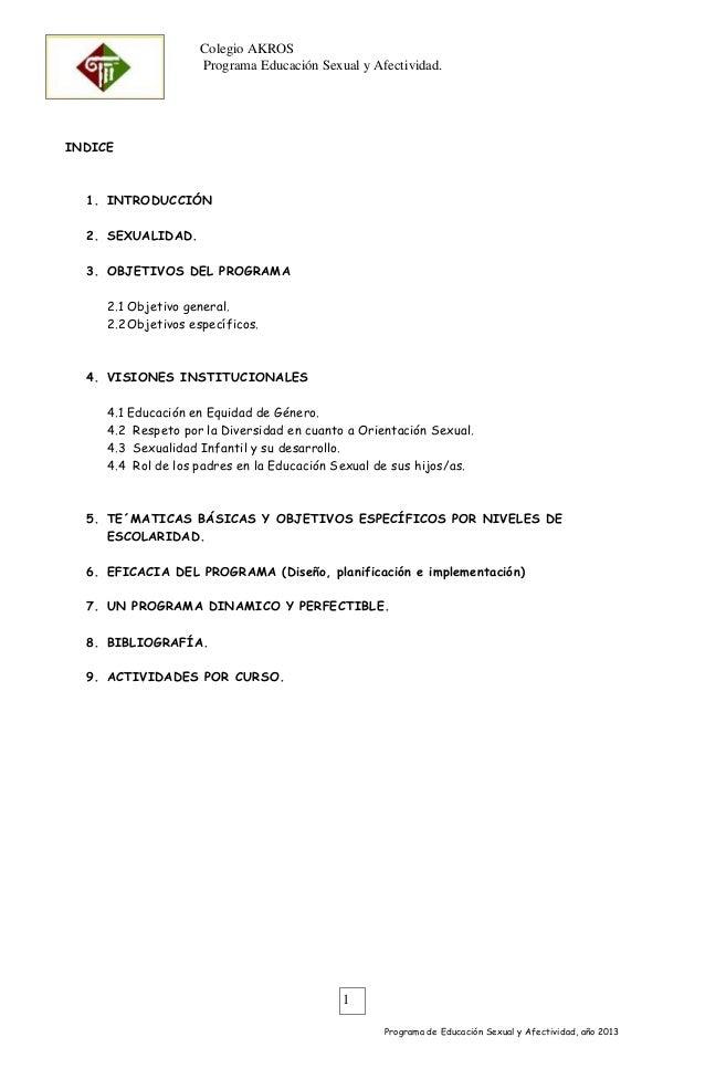 Colegio AKROS Programa Educación Sexual y Afectividad. OJO  INDICE  1. INTRODUCCIÓN 2. SEXUALIDAD. 3. OBJETIVOS DEL PROGRA...