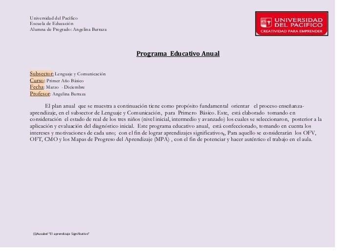 Universidad del PacíficoEscuela de EducaciónAlumna de Pregrado: Angelina Barraza                                          ...