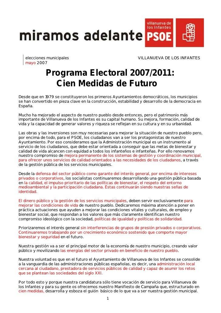 elecciones municipales                                      VILLANUEVA DE LOS INFANTES    mayo 2007                Program...
