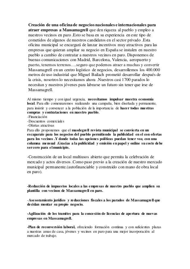 Programa electoral renovacio pol tica massamagrell 2015 for Oficina de treball renovacio