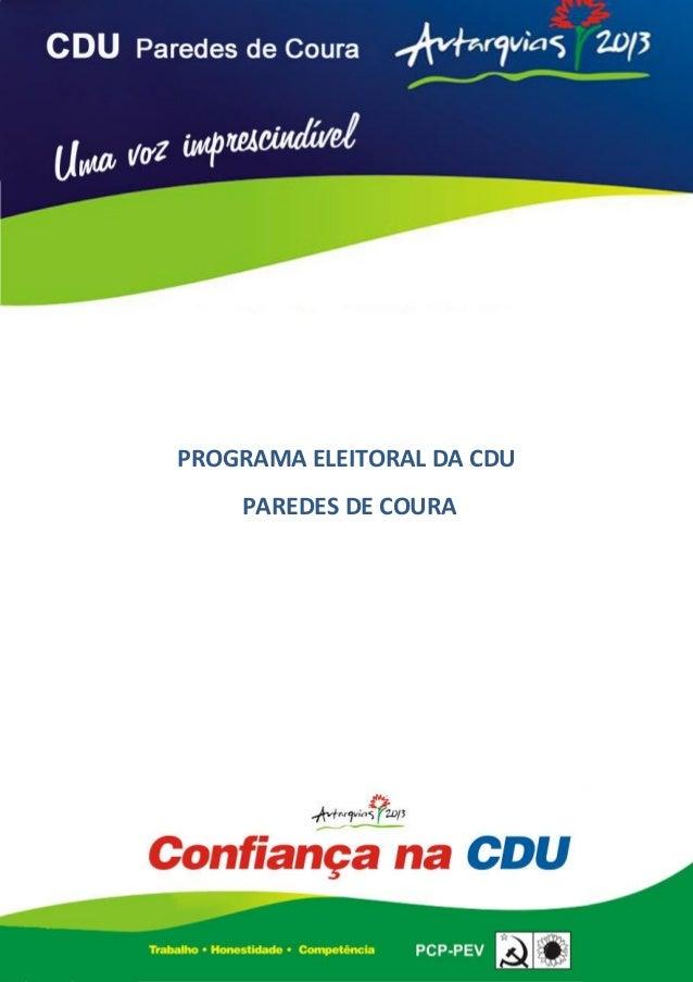 0 PROGRAMA ELEITORAL DA CDU PAREDES DE COURA