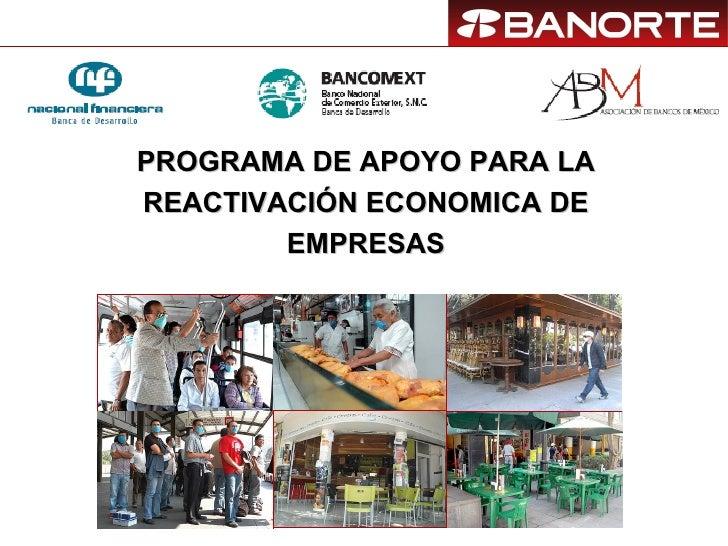 PROGRAMA DE APOYO PARA LA REACTIVACIÓN ECONOMICA DE EMPRESAS