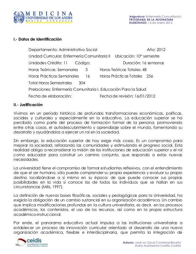 Asignatura: Enfermería Comunitaria II                                                                PROGRAMA DE LA ASIGNA...