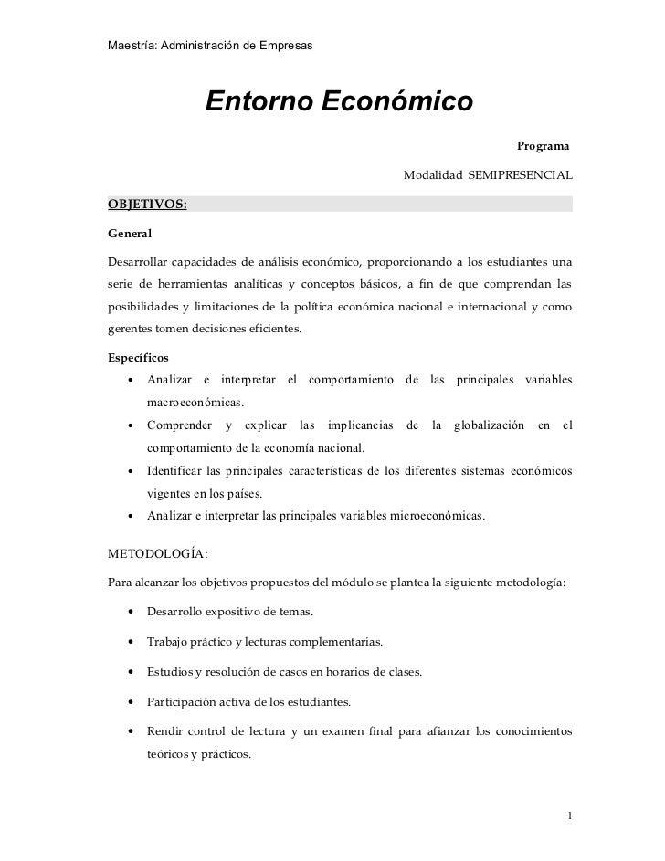 Maestría: Administración de Empresas                  Entorno Económico                                                   ...