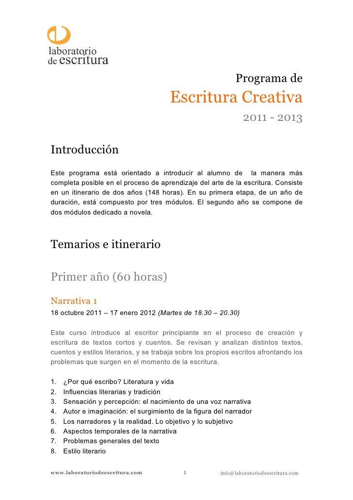 Programa de                                       Escritura Creativa                                                      ...