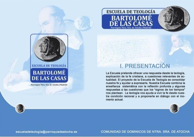 Programa Escuela de Teología Bartolomé de las Casas. Curso 2017-2018