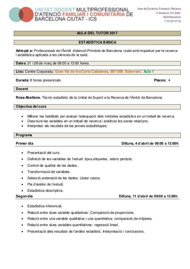 AULA DEL TUTOR 2017 ESTADÍSTICA BÀSICA Adreçat a: Professionals de l'Àmbit d'atenció Primària de Barcelona ciutat amb inqu...